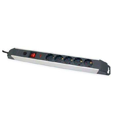 Base múltiple aluminio 5 tomas,interruptor y protección