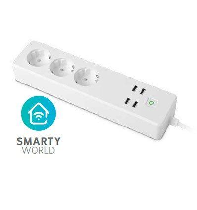 Base inteligente 3 tomas y 4 USB con logo