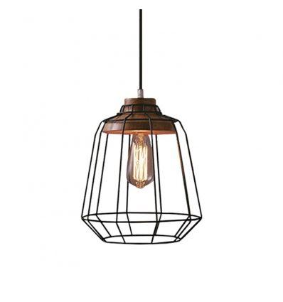 Lámpara colgante geométrica retro industrial jaula metálica