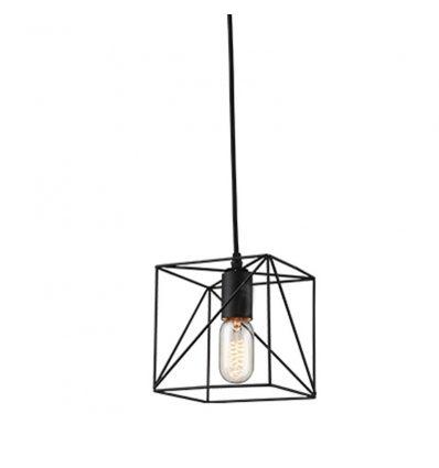 Lámpara colgante geométrica retro industrial jaula cuadrada