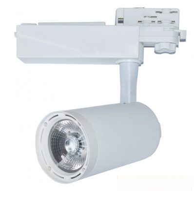 Foco de carril trifásico con optica led fija 25W Blanco