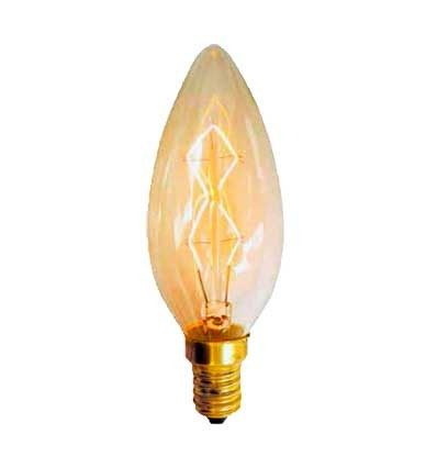 Bombilla Vela incandescente Vintage filamento retro 40W E28
