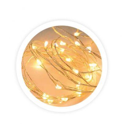 Guirnalda de alambre LED 2M cálida