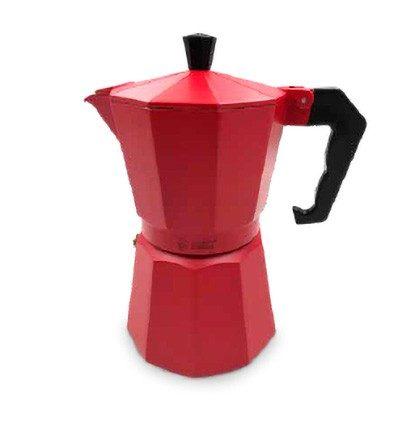Cafetera italiana inducción roja